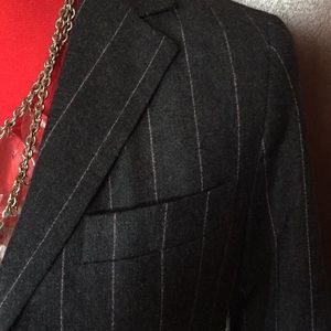 Designer Blazer, Theory, BNWT, Grey/Pink pinstripe